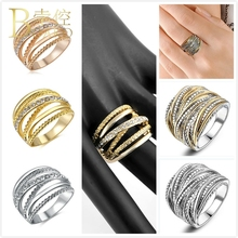 BOAKO Luxury Gold Color Multilayer Hollow Rings For Women Wide Big Ring Rose Gold Silver Punk Stack Finger Ring Men Jewelry Z5 punk style solid color hollow out ring for women