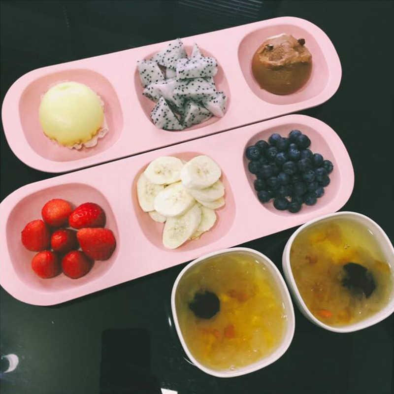 6pcs อาหารเด็กทารกไฟเบอร์ไม้ไผ่เด็กอาหารชุดกินข้าวจานชามส้อมเด็กการฝึกอบรมจานอาหารค่ำ