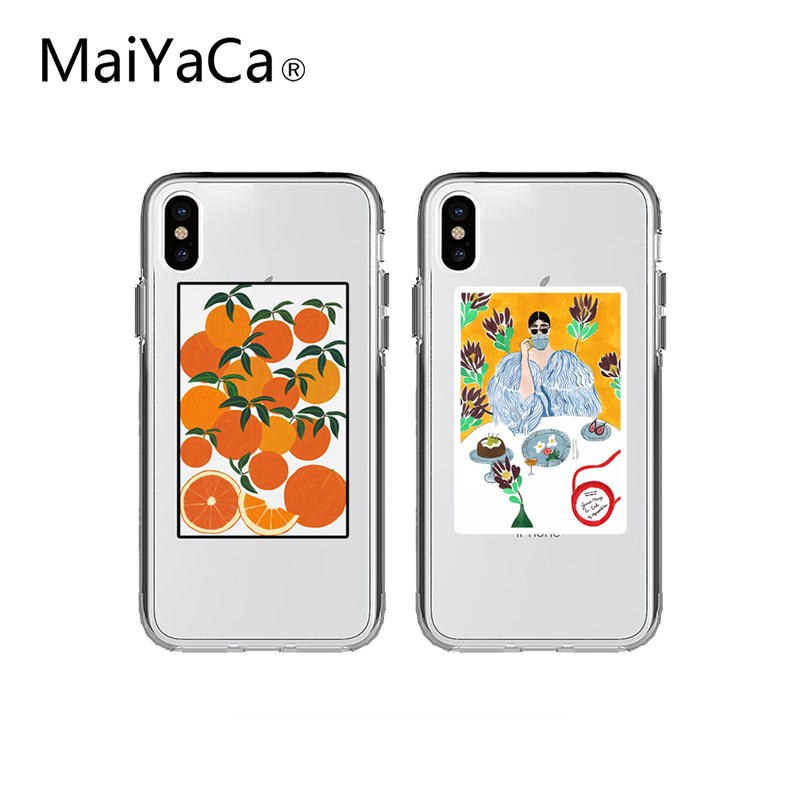 MaiYaCa Transparent Orange illustration Phone Case For iPhone X XS Max XR 6 6S 7 8 Plus Cute Cartoon flower drawing Soft Cases