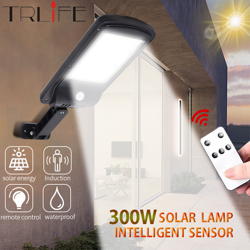 3000LM Solar Light Street LED Smart PIR Motion Sensor Remote Control Waterproof  Lamp On The Wall Decoration Outdoor Lights 300W