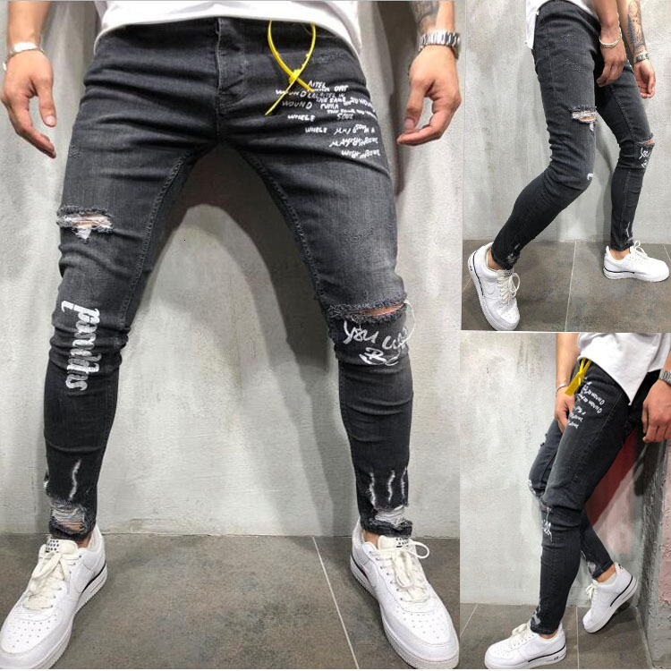 Fashion Letter Print Skinny Jeans For Men Ripped Knee Holes Strech Pencil Pants Denim Punk Pantalon Mezclilla Hombre Man Clothes