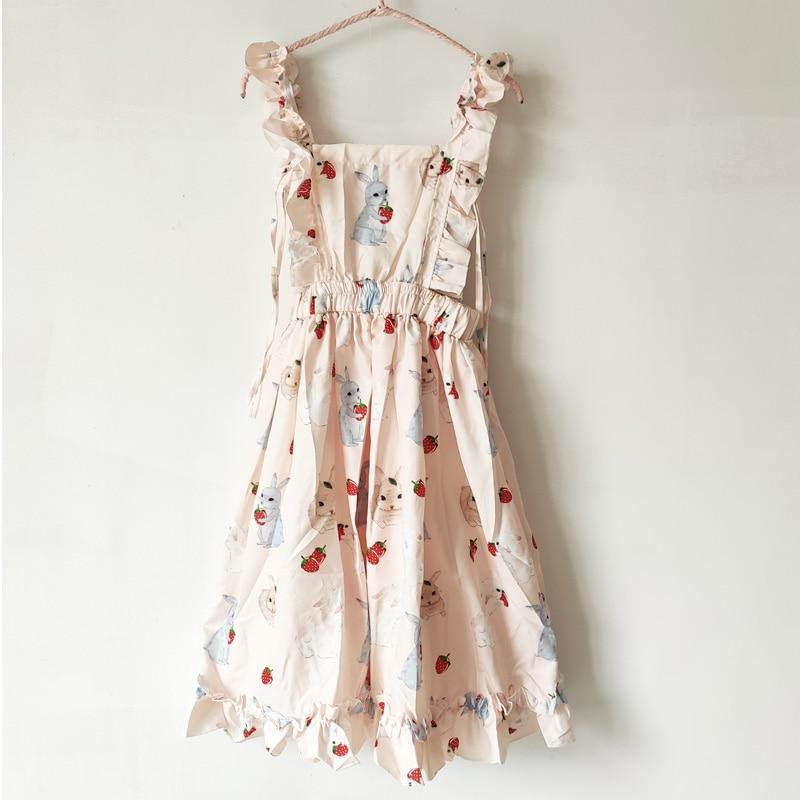 Women's Dresses Chic Lady Kawaii Ulzzang Strawberry Rabbit Cute Strap Dress Female Ins Vintage Harajuku Dress For Women Casual 6