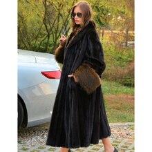Luxury Women Real Mink Fur Coat 120cm Long Natural Full Pelt Genuine Mink Fur Coats with Raccoon Dog Fur Sleeve Cuffs Overcoats
