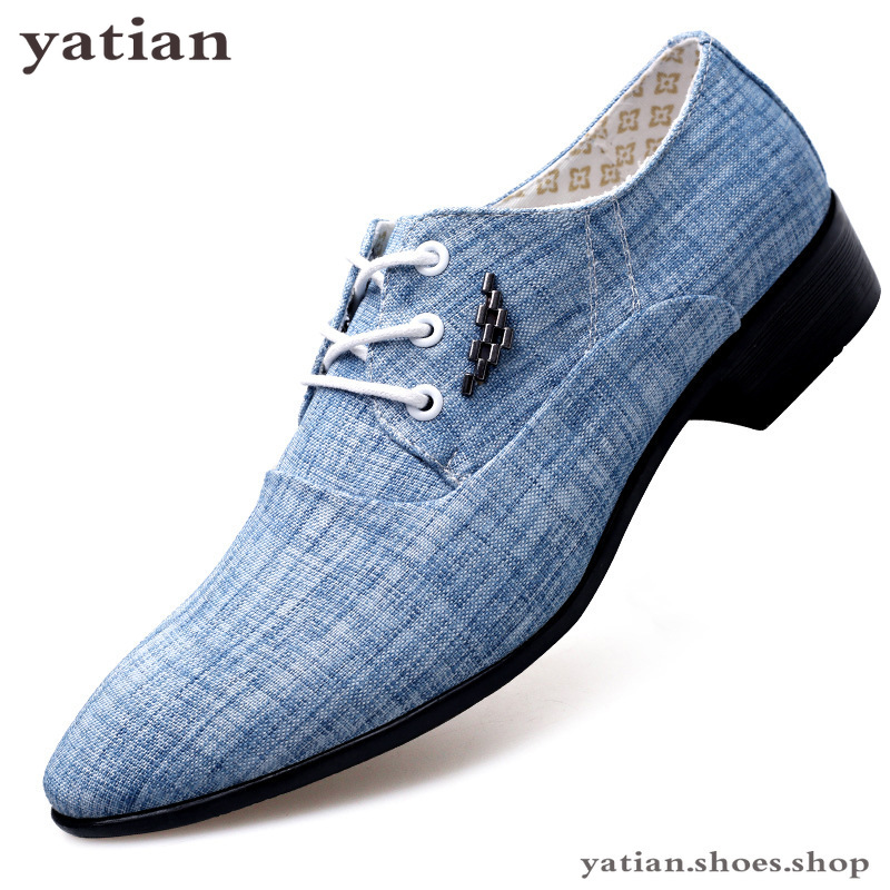 Mens Dress Shoes Leather Wedding Canvas Casual Flats Shoes Formal Shoes Men Canvas Loafers Chaussures Hommes N-06