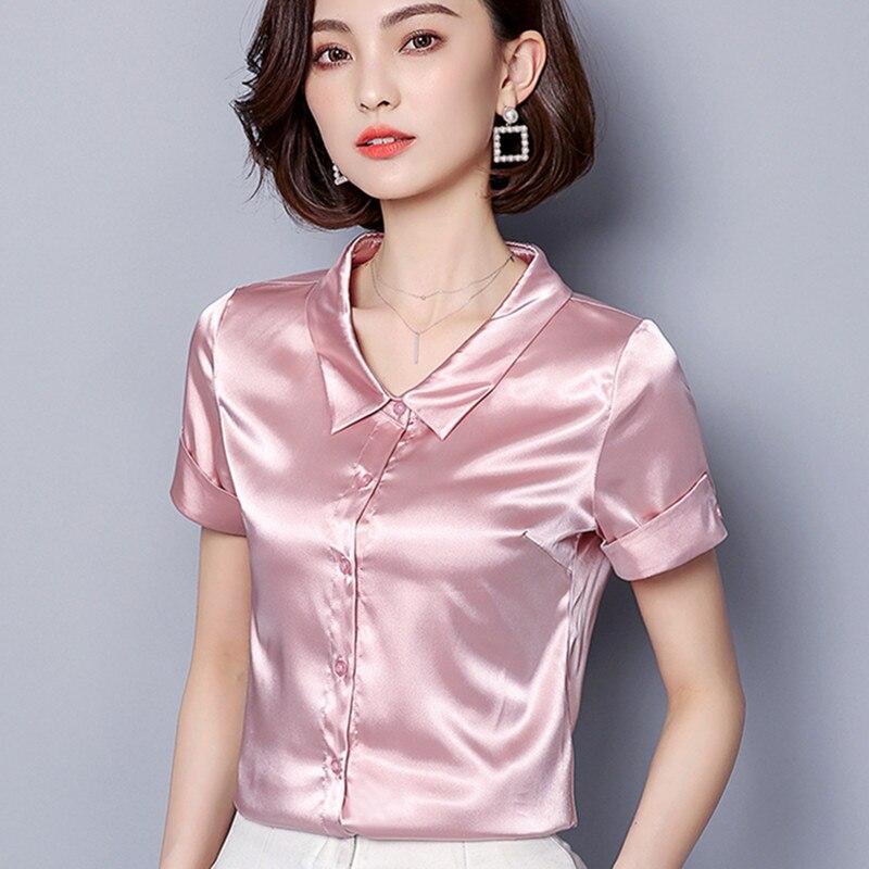 Korean Silk Shirt for Women Short Sleeve Satin Blouses Shirts Plus Size Blusas Mujer De Moda 2020 Woman Solid Blouse Shirt XXXL