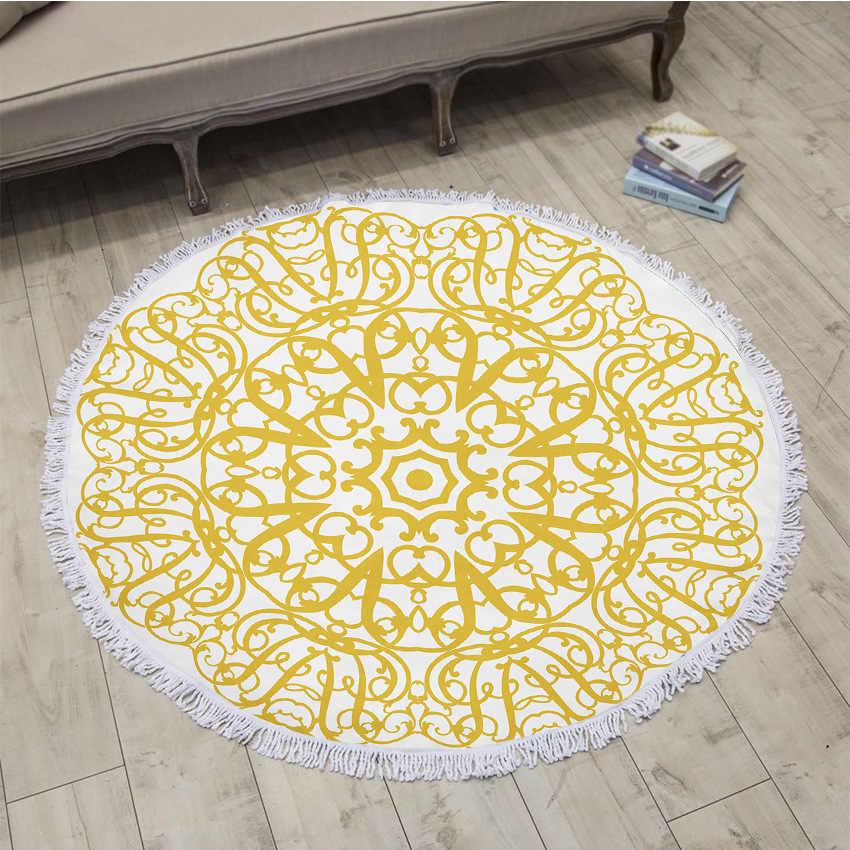 Tela Superfina círculo grande borlas Toalla de playa cojín playa manta envolvente falda patrón de impresión Digital