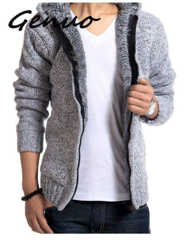 Autumn Winter Men's Thick Sweatercoat Collar Zipper Sweater Coat Outerwear Winter Fleece Cashmere Liner SweatersTurn-down Collar