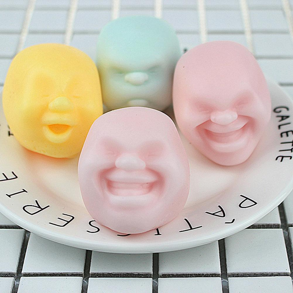 1 Pc Novelty Squeeze Toy Human Face Emotion Vent Ball Stress Relieve Adult Decompression Toy Anti Stress Ball