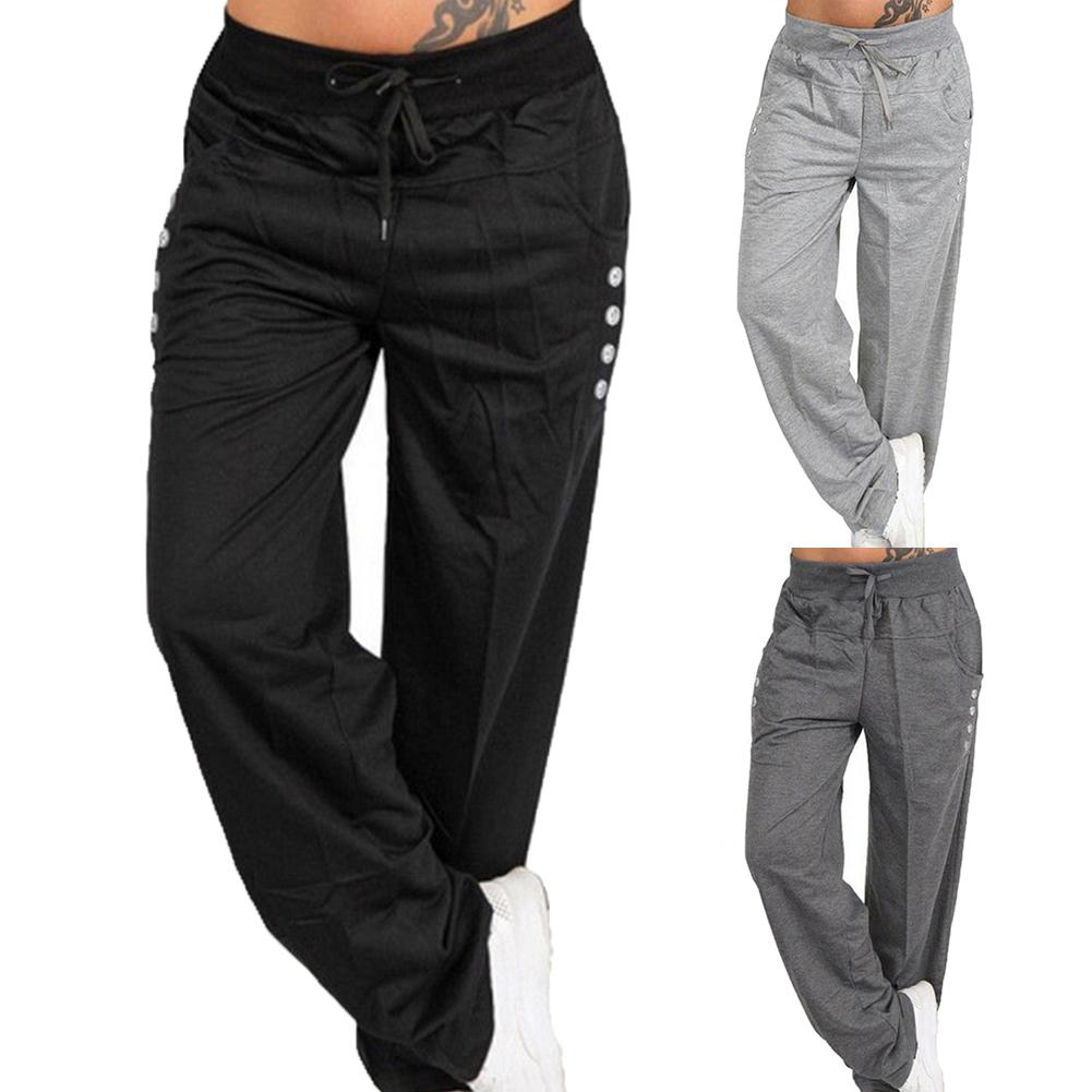 Pants Women High Waist Solid  Sports Tights Pants Loose Casual Long Trousers Women's Solid Color Slacks With Loose Straps
