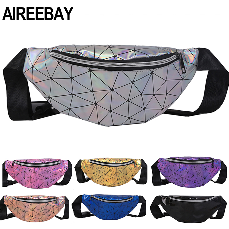 AIREEBAY Holographic Fanny Pack For Women Pink Ladies Hologram Waist Bag Black Geometric Waist Pack Leather Chest Bag Hip Pouch
