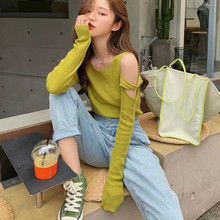 Thin-skinned knitted sweater lady Pullover knitted sweater with shoulder-length sleeves knitted sweater lime 231 0173 859