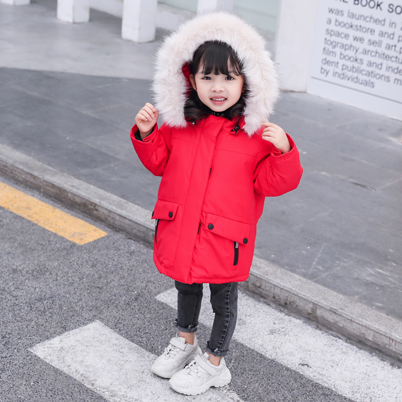 Fashion Winter Warm Fur Collar White Duck Down Long Child Coat Children Outerwear Thickening Baby Girls Jackets For 98 148cm in Down Parkas from Mother Kids