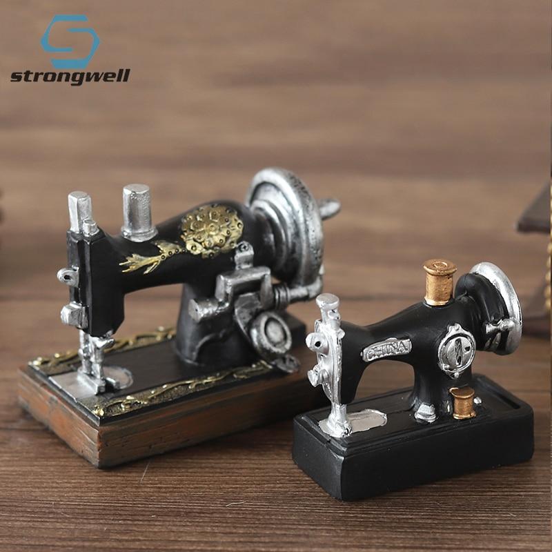 Strongwell, máquina de coser decorativa, decoración de resina, Retro, estilo europeo nostálgico, para escritorio, sala de estar, gabinete de vino, ornamento para el hogar