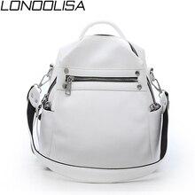 Fashion Women Soft Leather Small Backpack Designers Brand Multifunction Solid School Bags for Teenage Girls Mochila Feminina Sac