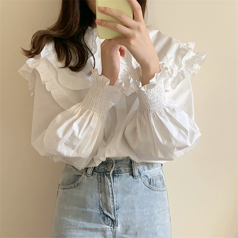 H288741b81b814413bc7eb0440b150ccfd - Spring / Autumn Double-Layer Ruffle Collar Long Petal Sleeves Loose Blouse