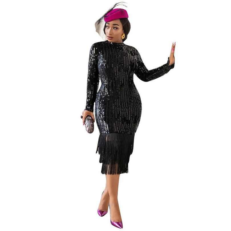 Novedad de otoño 2019, vestido elegante de moda de estilo africano de talla grande con cuello redondo, vestido hasta la rodilla con lentejuelas S-XXL