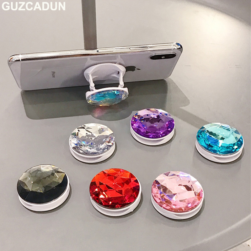 Glitter Bling 3D Diamond Folded Phones Holder Grip Stand For IPhone X XS MAX XR 8 7 6 6s Plus Universal Cell Phone Bracket