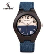 Bobo bird relógio de pulso, relógio de pulso casual de madeira promoção de pulseira de couro para ele presente de aniversário de natal aceitar dropshipRelógios de quartzo