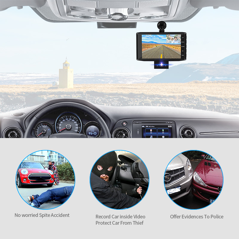 E-ACE B13 DVR 4,0 Zoll Auto Recorder 1080P FHD Dashcam Nachtsicht auto dvrs 3 Kamera objektiv Auto Kamera dashCam Video Recorder