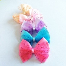 1 Pcs/lot Latest Elegant Bowknot Hairgrips Sweet Lively Solid Ribbon Bow Lace Sequins Safety Hair Clips Kids Hairpins