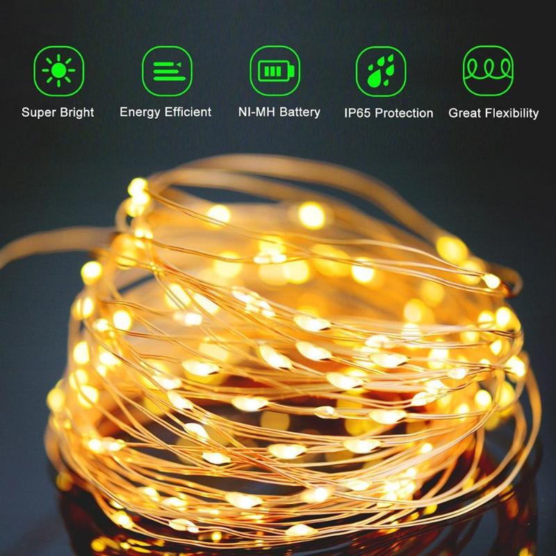 10/15/20m LED Copper Wire String Light Fairy Light Waterproof Solar LED String Lights Solar Lamp Wedding Christmas Decoration