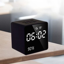 LED Alarm Clock with FM Radio Bluetooth Speaker Wireless AUX TF USB Music Player(China)