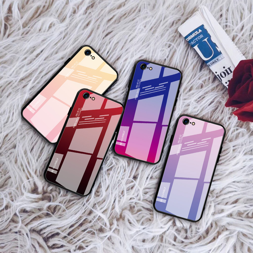 Image 4 - luxury tempered gradient stained glass phone case for iphone 11  lot pro max x xr xs 8 7 6 6s plus cover soft edge drop protectFitted  Cases