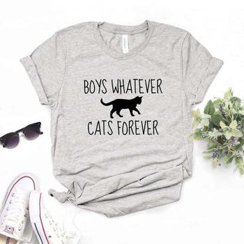 Boys Whatever Cats Forever Print Women Tshirts Cotton Casual Funny t Shirt For Lady Top Tee Hipster 6 Color Drop Ship NA-537
