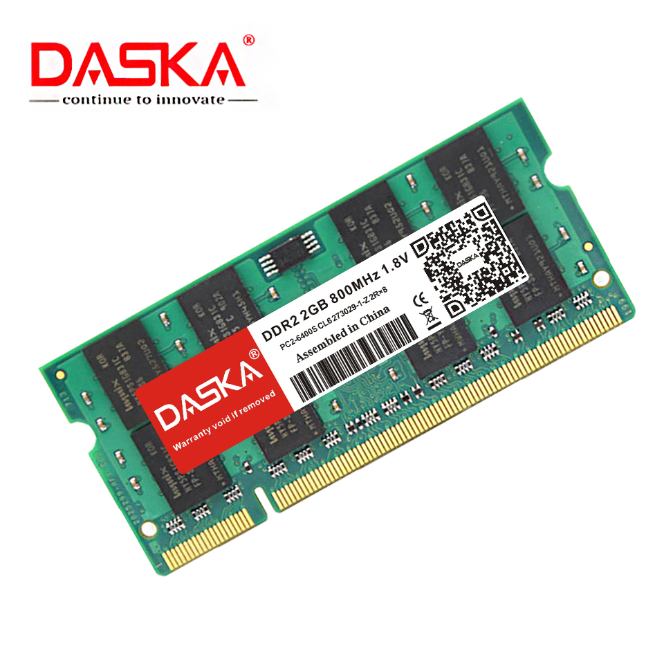 DASKA Ddr2 2GB 4GB Ram Sodimm Laptop Memory PC2-5300/6400 800 667mhz 200pin 1.8V Ddr 2 For Notebook Lifetime Warranty