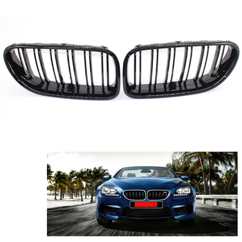 Left Right Gloss Black Front Grill Grille Dual Slat For BMW 6 Series M6 F06/F12/F13 2012-17 640i 650i 51137212849, 51137212850 image