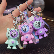 Rock Paper Scissors Play Toy Key Chain New Family Games Keychain Fancy Dolls Round Egg Key Ring Car Bag Pendant Charms Llaveros