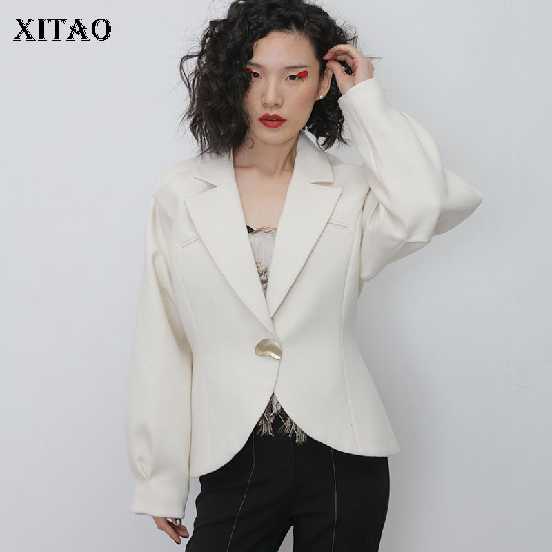 XITAO White Pleated Blazer Fashion New Single Breast Full Sleeve Pocket 2020 Spring Goddess Fan Casual Loose Coat DMY2398
