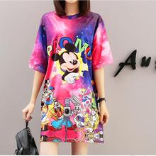 2019 New Cartoon  European Popular In Thailand Spring And Summer Millet Rat Printing Short Sleeve Loose Character Women Dress
