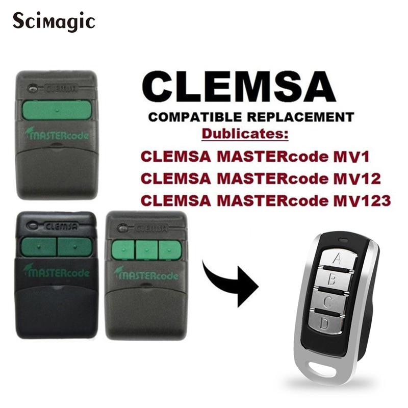 Remote Garage CLEMSA MUTAN CODE MASTERCODE MV1 MV12 MV123 Door Remote Clone CLEMSA  433.92MHz Command