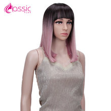 Classic Plus Short Straight Bob Wig Synthetic Natural Ombre Pink Brown Burgundy Bob Wig With Bang For Black Women Heat Resistant adiors short silky straight inclined bang synthetic wig