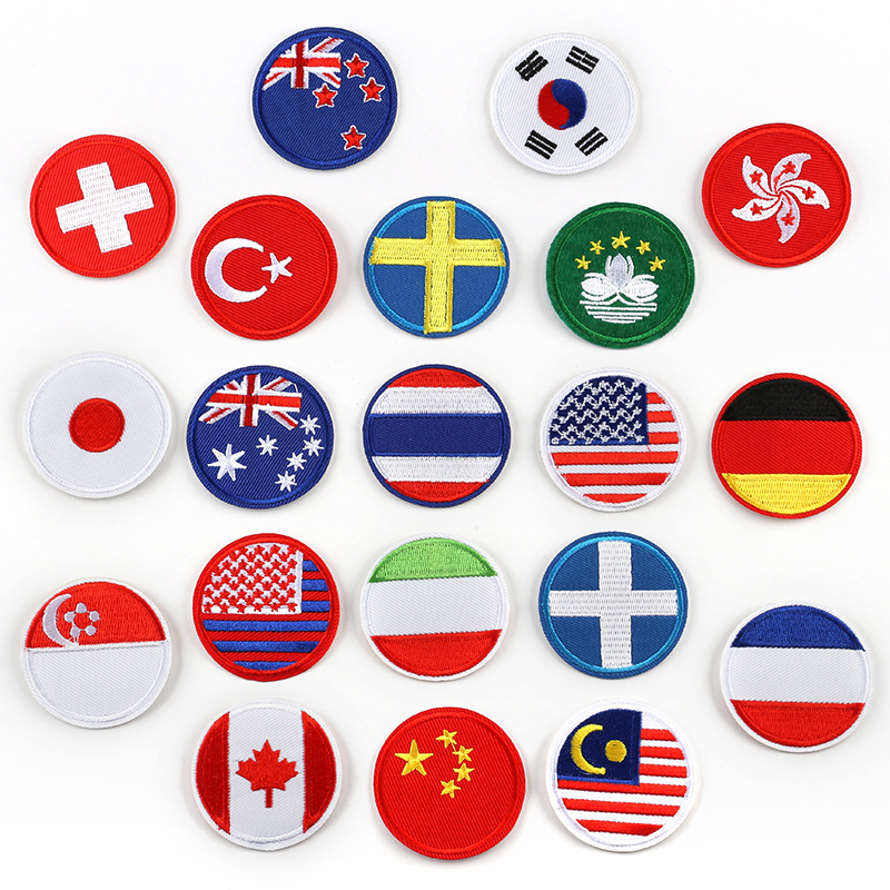 America Canada France Germany Japan Korea Australia Switzerland Country Flag Hong Kong Macao Area Flag Round Iron on Patches(China)