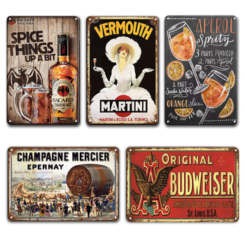 BACARDI BEER Poster Vintage Metal Plaque Tin Signs Mojito Martini Cocktail Decorative Metal Plate Signs Pub Bar Home Wall Decor dad s barbecue decorative signs beer bbq plaque metal vintage wall bar home art retro restaurant decor 30x20cm du 6034a