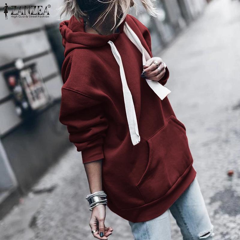 ZANZEA Women Hoodies Sweatshirts Pockets Solid Pullover Strappy Hoodie 2019 Autumn Sweatshirt Pullover Jumper Sweatshirt Hoodies