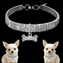 New Bling Dog Collar for Small Dogs Cat Necklace Rhinestone Diamante Pet Puppy Supplies Accessories