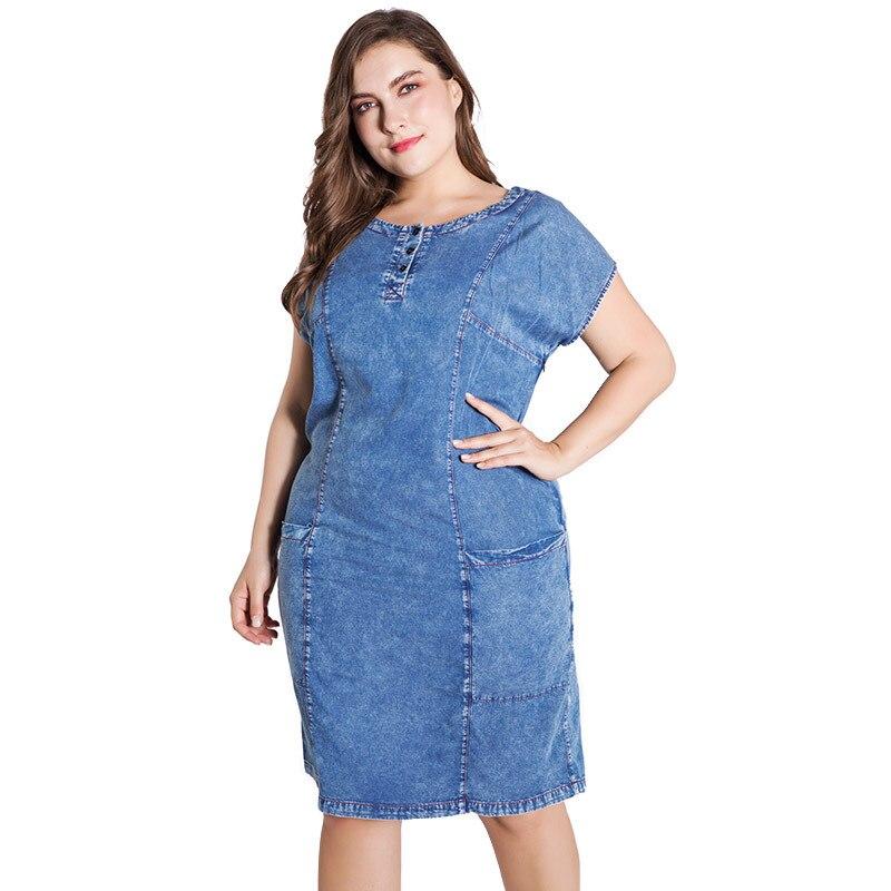 2020 летнее женское платье размера плюс, джинсовое платье для женщин, одежда с круглым вырезом и карманами, элегантные вечерние платья, вечерние платья|Платья|   | АлиЭкспресс
