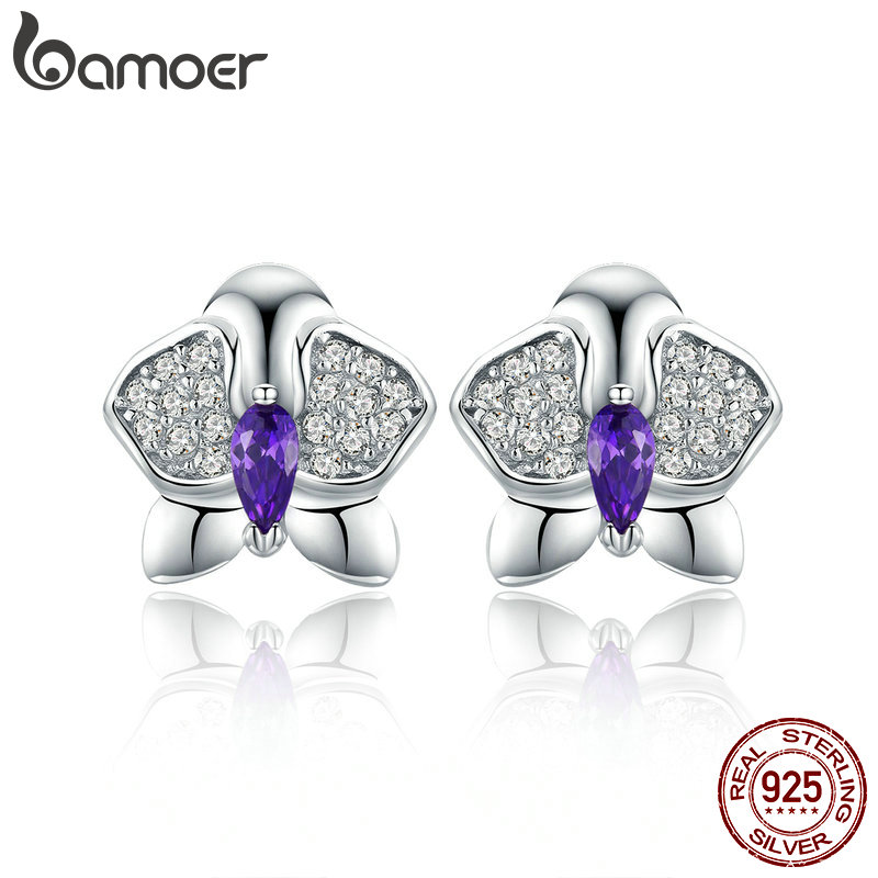 BAMOER Genuine 925 Sterling Silver Orchid Flower Clear CZ Zircon Stud Earrings For Women Engagement Jewelry Gift BSE036