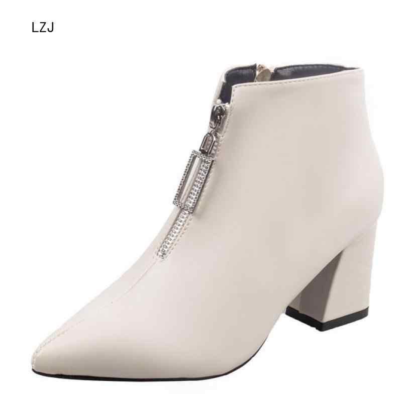 LZJ marque bottes à glissière femme avant grand Botas ouvert mi-mollet Botines hiver épais talons hauts en cuir verni Martin chaussons 2019