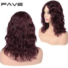 FAVE Lace Front Human Hair Wig Natural Wave Middle Part Brazilian Remy 12 inch Black / #99J For Women