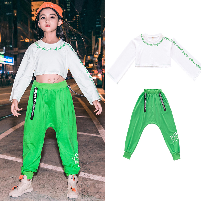 Children Hip Hop Dance Costumes Kids Street Dance Clothing White Tops Green Pants Jazz Dance Costumes Festival Outfit SL2119