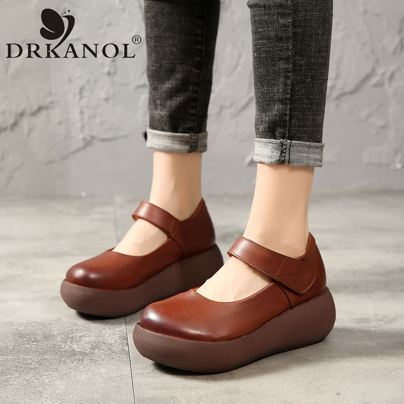 DRKANOL 2020 Spring Summer Women Flat Platform Shoes Retro Shallow Round Toe Casual Shoes Women Genuine Leather Platform Shoes