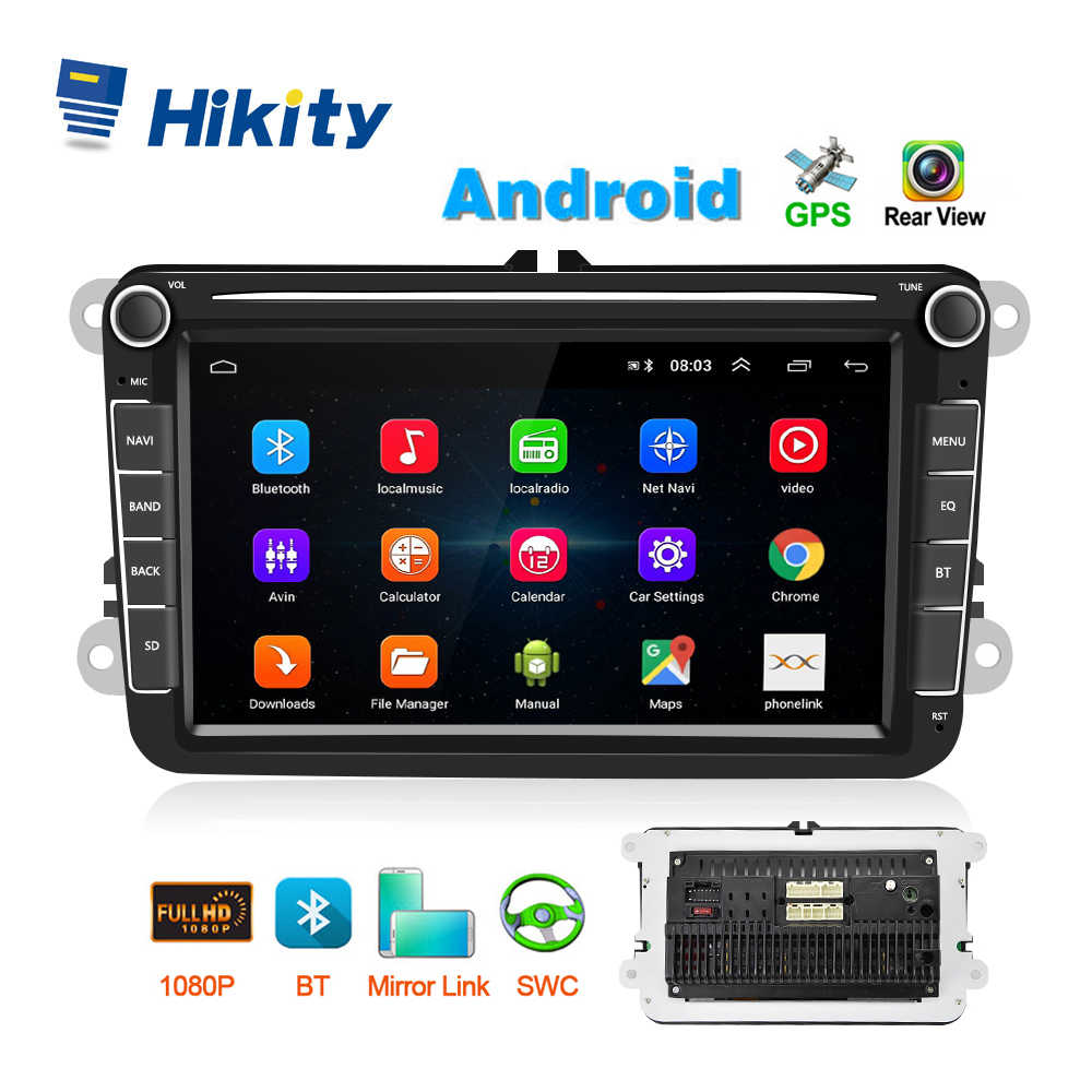 Hikity 8.1 Multimedia 2 Din GPS Auto Mobil Stereo Radio 8 ''Mobil MP5 Pemain CANBUS Cermin link Bluetooth WIFI FM Radio