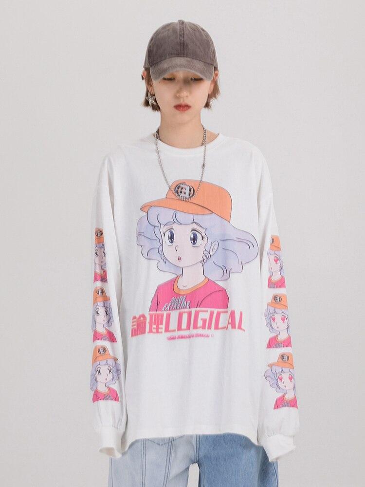 Clothing Shirt Oversized Kawaii-Clothes EXTREME Long-Sleeve Harajuku Japanese Streetwear