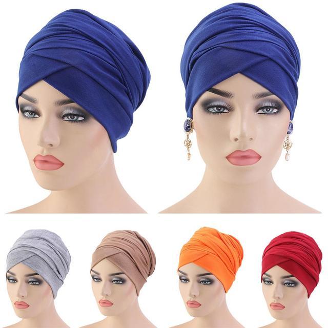 Mới Hồi Giáo Đuôi Dài Khăn Mũ Nữ Băng Đô Cài Tóc Turban Gọng Hóa Trị Bộ Đội Tóc Hồi Giáo Headwrap Đầu Bao Bọc Mũ Lưỡi Trai Mũ Dubai Ả Rập Bonnet