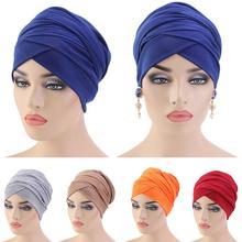 Neue Muslimische Lange Schwanz Schal Hut Frauen Turban Chemo Kappe Haar Verlust Islamische Headwrap Kopf Abdeckung Wrap Caps Headwear Dubai arabischen Motorhaube