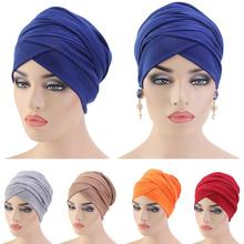 Pañuelo largo musulmán para mujer, gorro turbante de quimio islámico, para la cabeza, tocado árabe de Dubái